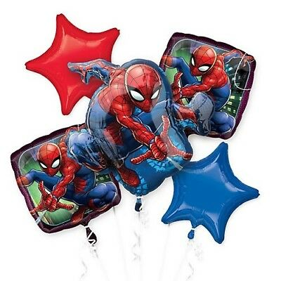 Marvel Spider-Man Birthday Party Favor Supplies 5CT Foil Balloons Bouquet
