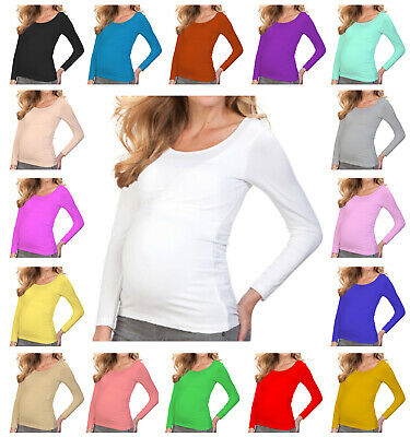 Women Ladies Maternity Long Sleeve Scoop Neck Top Pregnancy Nursing Size 8-26