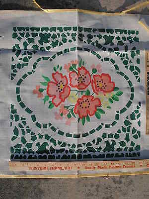 "Painted needlepoint canvas by Brunswick P496 18""x18"" Flower Pattern vintage New"
