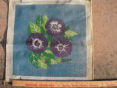 "Painted needlepoint canvas 15""x15"" Morning Glory mono can vintage"