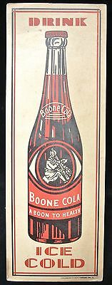 """1940'sDRINK BOONE COLA """"A BOON TO HEALTH"""" ICE COLD Cardboard Sign -Kemper Thomas"""