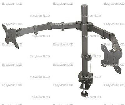 """EZM Dual LCD Monitor Mount Stand Desktop Clamp - up to 27"""" (002-0007)"""