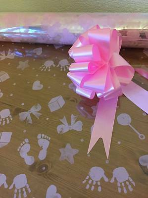 3M pink baby print cellophane wrap with pull bow & 1M curling ribbon