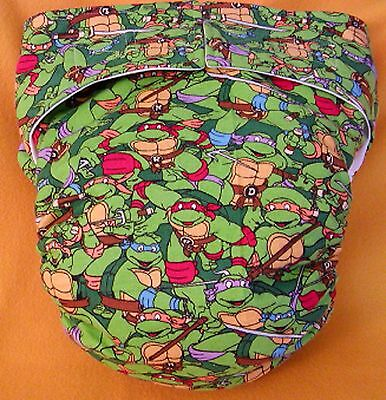 AIO (All In One) Adult Baby Reusable Cloth Diaper S,M,L,XL Ninja Turtles