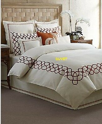 Tommy Bahama TRELLIS Full Queen Duvet Cover Red Ivory Embroidered NEW 1Q