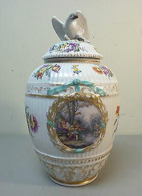 FABULOUS 19th C. ANTIQUE BERLIN KPM PORCELAIN POTPOURRI VASE with EAGLE FINIAL