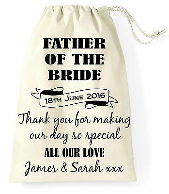 Personalised Wedding Day Gift Bag Father of the Bride Wife Present Vintage