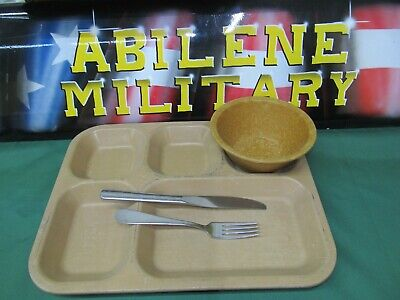 Military Mess Hall Tray Divided Food Trays Camping Cafeteria 2 Trays silverware