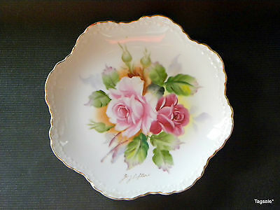 """Lefton Exclusives Hand Painted 8 1/4"""" Plate Hand Signed By G. Lefton"""