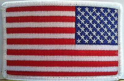 American Flag Patch With VELCRO® Brand Fastener White Border United States Left