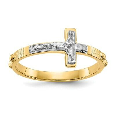 Genuine 14k Two Tone Gold Crucifix Rosary Ring  1.91 gr