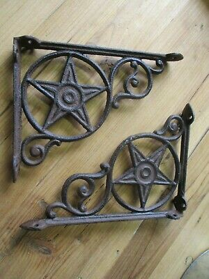 4 Cast Iron Antique Star Brackets Garden Braces Shelf Bracket RUSTIC Vintage!!!