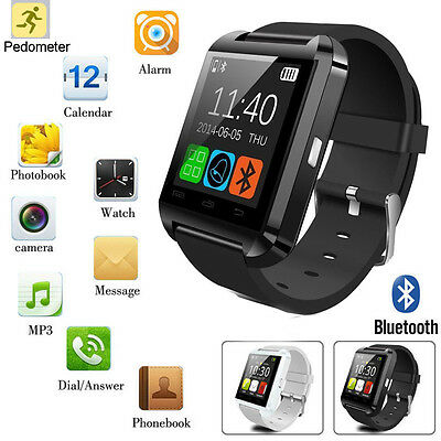 Black Smart Wrist Watch Bluetooth Phone Mate For Iphone Samsung LG Android & IOS