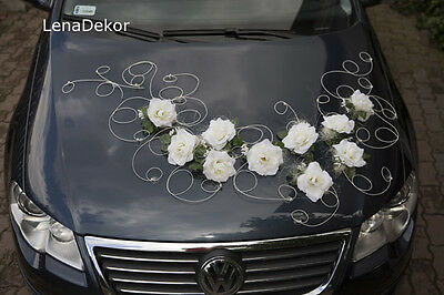 wedding car decoration, ribbon , bows, prom limusine decoration, RETRO white