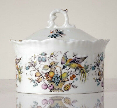 Crown Staffordshire Fine Bone China, FRUIT and BIRD PATTERN Pot/Jar with Lid