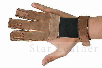 New Archery Shooting Target Hunting 3 Fingers Leather Glove-Adjustable Fastening
