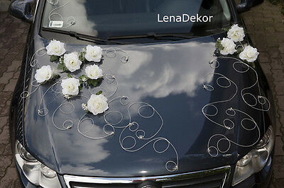 wedding car decoration, ribbon , bows, prom limusine decoration, RETRO ivory