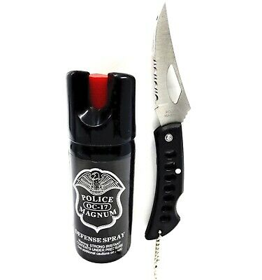 Police Magnum pepper spray 2oz ounce Safety Lock and Pocket Knife Security