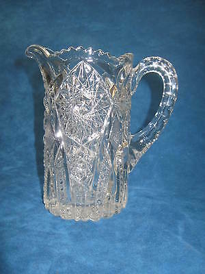 Antique/Vintage Deep Pressed Clr Glass WATER PITCHER Sawtooth Rim, Ornate..Nice!