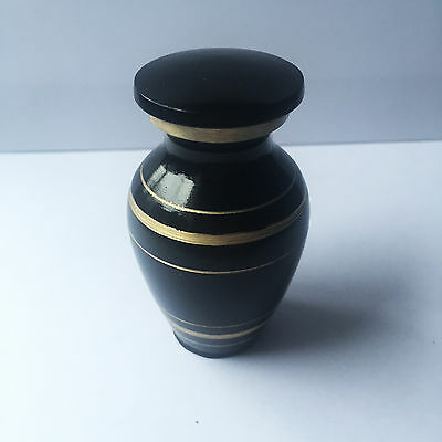 Black & Gold Mini Urn For Human / Pet Ashes -Cremation Memorial Keepsake Memory