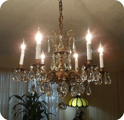 Antique Bronze Chandelier With Six Light and Prisms