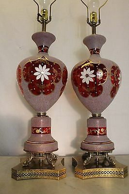 vintage ornate stained red glass table lamp made in GERMANY dolphin brass base