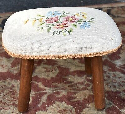 1960 Antique country style walnut  footstool / foot rest with needlepoint fabric