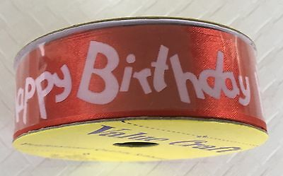 Ribbon Happy Birthday - Red and White