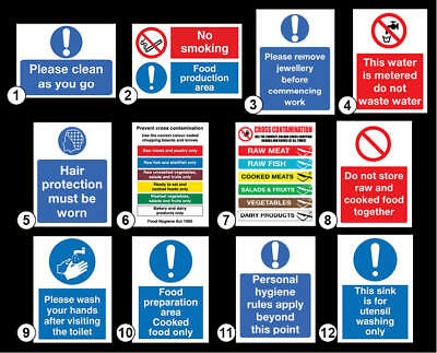 Food Hygiene Sign Sticker various types Food, Wash Hands, Raw Cooked Meat, Sink