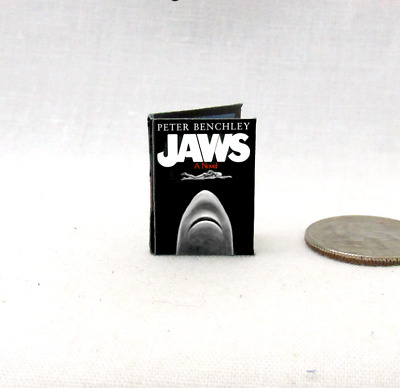 JAWS Dollhouse Miniature Book 1:12 Scale Readable Book Shark Ocean Sea Beach