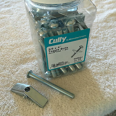 "CULLY 58664J Round Head-Slot Toggle Bolts Zinc 3/8 x 4"" New Quantity of 25"