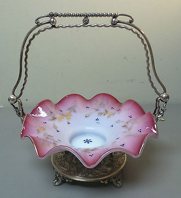 VICTORIAN PERIOD ART GLASS BRIDE'S BASKET in ORNATE WILCOX SILVER PLATE STAND