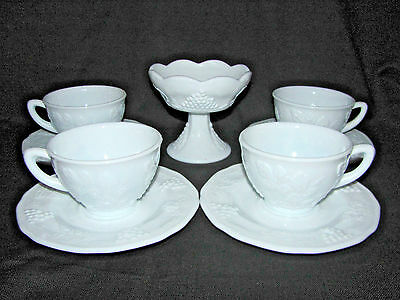 Indiana Glass Colony Harvest Grapes 4 Coffee Cups, 4 Saucers & 1 Candle Holder