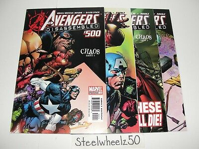 Avengers #500-503 Comic Lot 501 502 Disassembled Marvel Chaos COMPLETE Story HTF