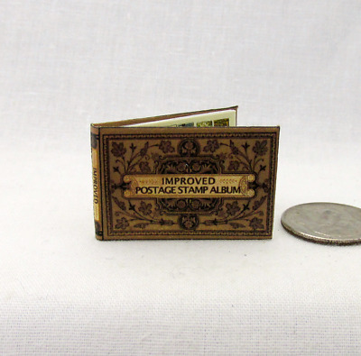 STAMP ALBUM Dollhouse Miniature Book 1:12 Scale Book Color Stamp Pages Philately