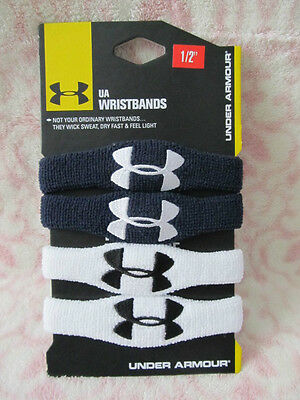 "Under Armour 1/2"" Oversized Wristbands - 2 Pairs Midnight Navy & White - New"