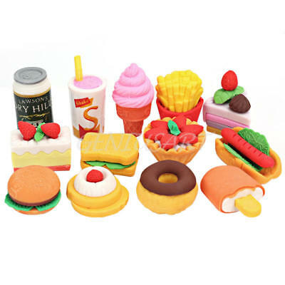 New 13pcs Cute Food Rubber Pencil Eraser Stationery Novelty Kids Party Gift Set