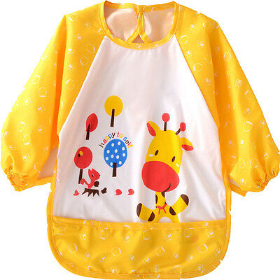Yellow Dear Baby Toddler Coverall Art Paint Apron Waterproof Long Sleeves Bibs