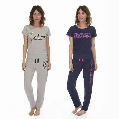 Ladies Printed Jersey All In One Lounge Pyjama Set Top Bottoms Forever Dreaming