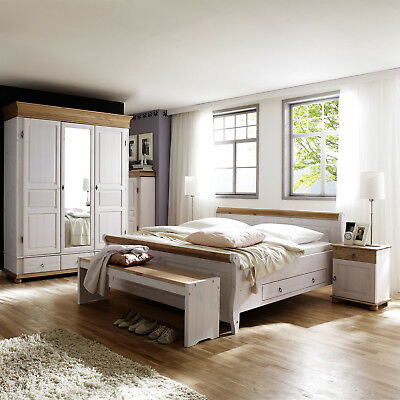 schlafzimmer set helsinki malta komplettzimmer kiefer massiv wei und antik 4tlg eur. Black Bedroom Furniture Sets. Home Design Ideas