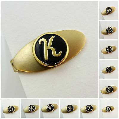 """Vintage 1960s Tie Clip for Skinny Necktie Short 1"""" Initial Personalized Letter"""