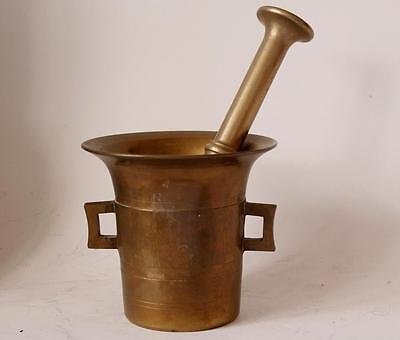 Antique Very Large Bronze/Brass Mortar with Pestle c. early-1900s #1