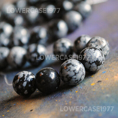 "Snowflake Obsidian beads 10mm - 15"" jewelry supplies. approx 40 beads - stone"