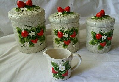 Ceramic Strawberries  Canister set and cup by Sears Roebuck 1981    As