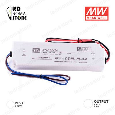 Alimentatore Switching Mw 100W 12V Dc 8.33A Ip67 Mean Well Lpv-100-12