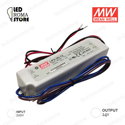 Alimentatore Switching Mw 35W 24V Dc 1.45A Ip67 Mean Well Lpv-35-24
