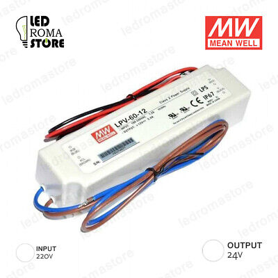 Alimentatore Switching Mw 60W 24V Dc 2.5A Ip67 Mean Well Lpv-60-24