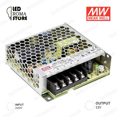 Alimentatore Switching Mw 75W 12V Dc 6.25A Ip20 Mean Well Rs-75-12