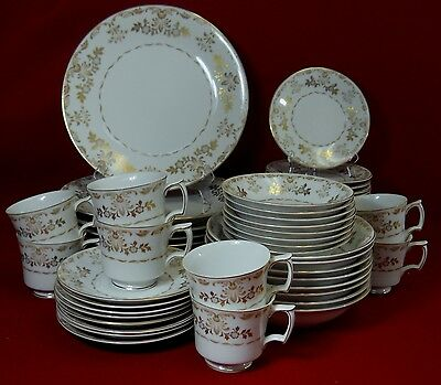 HARMONY HOUSE china CLASSIQUE GOLD 3672 pattern 56-pc SET SERVICE for EIGHT (8)