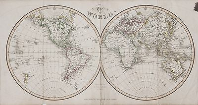 James Neele 1831 World Hemispheres Map